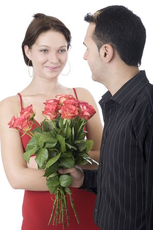 Happy couple 1, offering flowers for Valentine photo