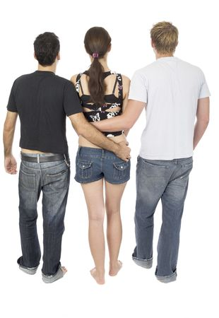 Friendly threesome, 2 men and 1 woman Stock Photo - 366881