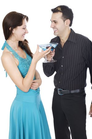 Happy Valentine, young couple drinking blue cocktails for Valentine photo