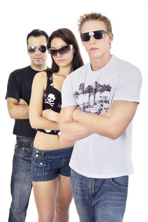 threesome: Awesome threesome 4, standing with arms crossed and sunglasses Stock Photo