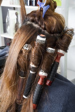 Rollers on long hair photo