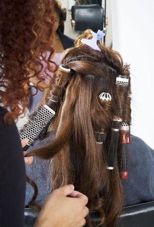 frizz: Hair dresser applying rollers 4