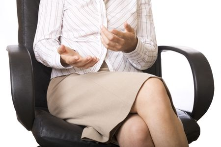 Businesswomans hands moving while talking photo