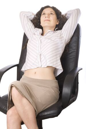 Businesswoman relaxing at work photo