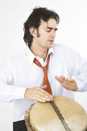 drumming: Businessman drumming madly