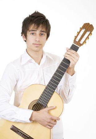fanatic studio: Teenager playing guitar Stock Photo