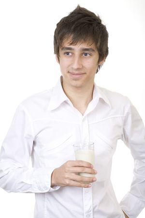 Teenager drinking milk photo