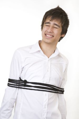 Teenager tied up in a rope photo