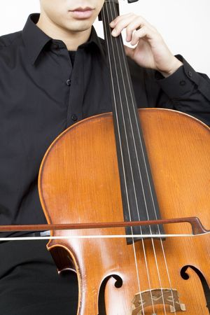 bowing: Cellist bowing 3, close up Stock Photo