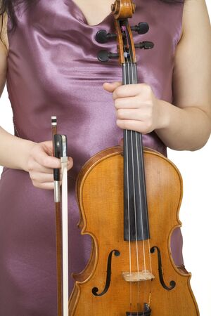 Violinist closeup 1, holding her violin and bow Stock Photo - 456895