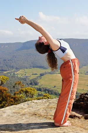 Mountain yoga 2 backward bend Stock Photo - 561726
