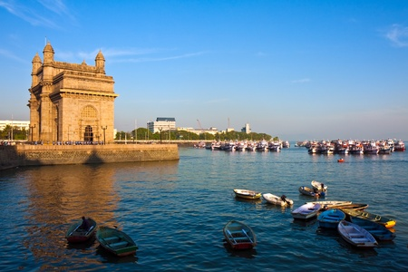 monument in india: Gateway of India at sunset in Mumbai.