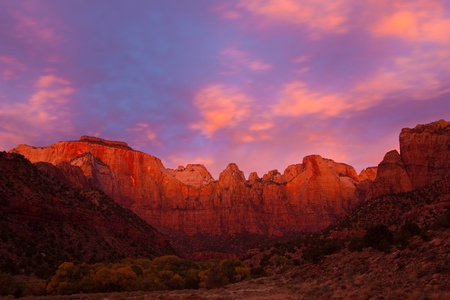 zion: Breathtaking sunrise over the Towers of the Virgin in Zion Canyon National Park, Utah.