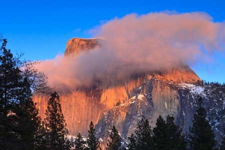 Half Dome peak at sunset in Yosemite National Park, California.