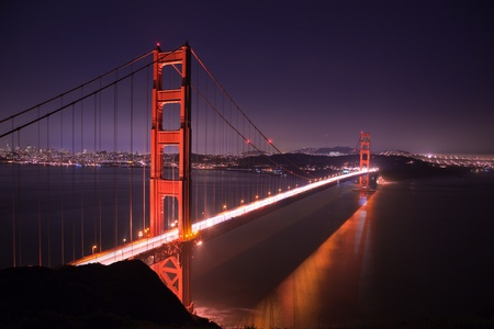 Golden Gate bridge at night seen from Marina Headlands, San Francisco, California.