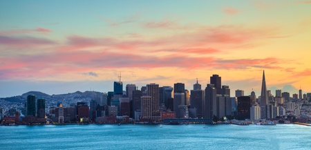 San Francisco HDR panorama at dusk.