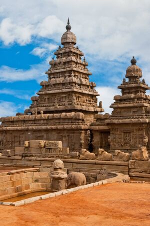 stricture: Old seashore temple at Mahabalipuram, India. Stock Photo