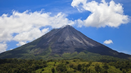 rica: Panoramic view of the famous Arenal Volcano, Costa Rica.