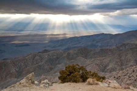 ジョシュア ツリー国立公園、カリフォルニア州でキー ビューの夕日。