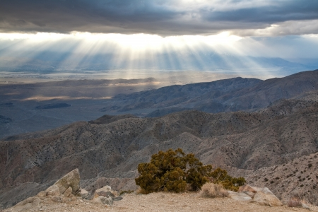 mojave desert: Sunset at Keys View in Joshua Tree National Park, California. Stock Photo