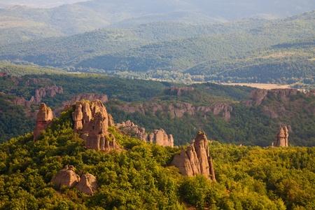 Belogradchik rock formations at sunset in Bulgaria. Imagens