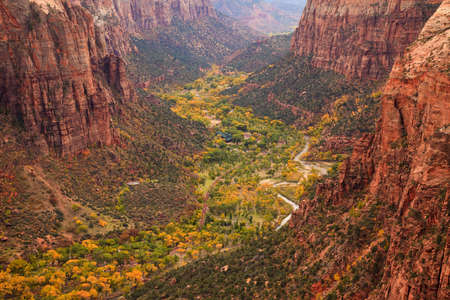 The inside of Zion Canyon National Park, seen from Angels Landing. photo
