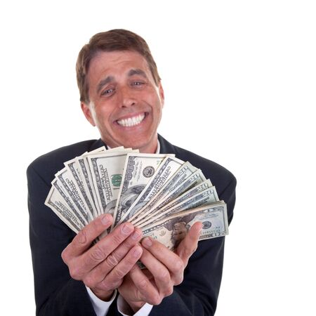 Crazy business man admiring his 20 and 100 dollar bills - focus on the money.