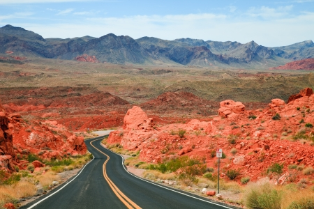 colourful fire: Winding road through the Valley of Fire State Park, Nevada. Stock Photo