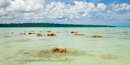 Shallow beach with coral rocks at Havelock, Andaman and Nicobar Islands, India