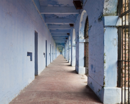 Corridor in a wing of the Port Blair Cellular Jail, Andaman and Nicobar Islands, India  Stock Photo - 13761108