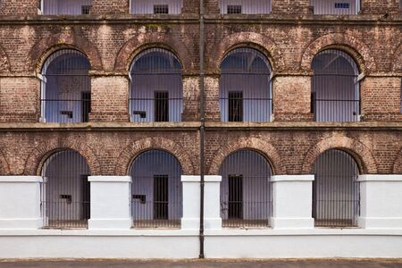 jail: Side view of one of the wings in the Port Blair Cellular Jail, Andaman and Nicobar Islands, India