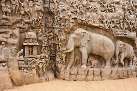 tamil nadu: Segment of the Arjuna Penance in Mahabalipuram