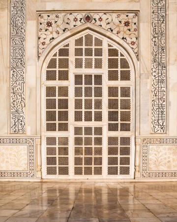 One of the side doors to the famous Taj Mahal monument in Agra, India  photo