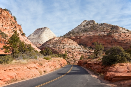 zion: Highway 9 passing through Zion Canyon National Park, Utah  Stock Photo