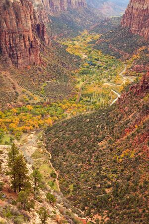 The inside of Zion Canyon National Park, seen from Angels Landing  photo
