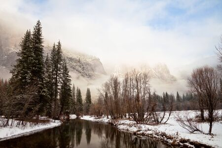 Dramatic winter landscape in Yosemite National Park, California. photo