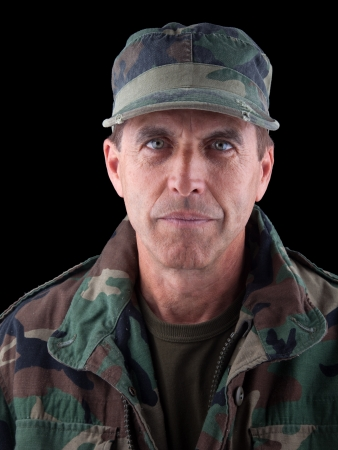 army face: Close up portrait of a middle aged soldier in uniform. Stock Photo