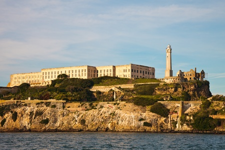 Closeup view of the Alcatraz Prison in the San Francisco Bay, California. Stock Photo