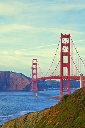 golden: Golden Gate Bridge in San Francisco, California.