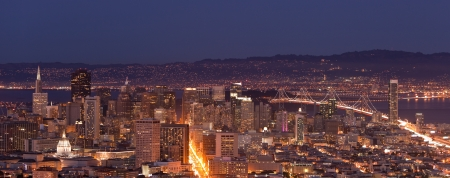 Night view of downtown San Francisco and the bay seen from Twin Peaks. photo