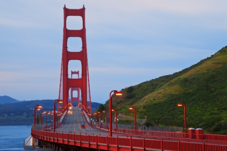 bay area: Golden Gate bridge in San Francisco on an early morning. Stock Photo