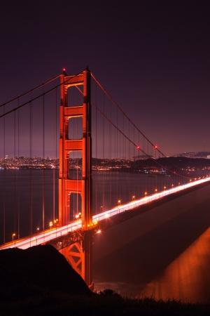 rope bridge: Golden Gate bridge at night seen from Marina Headlands, San Francisco, California.