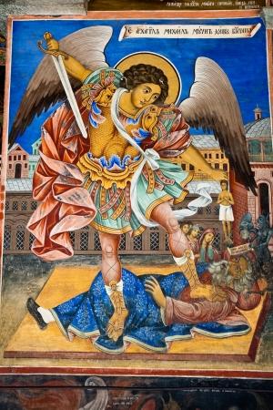 michael the archangel: Icon of Saint Michael in Rila Monastery, Bulgaria.