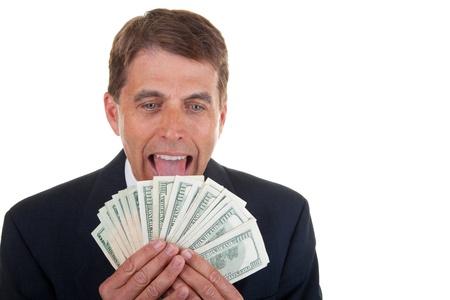 ハード彼を舐めている貪欲な中央高齢者成功したビジネスマンはお金を稼いだ。