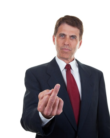 Middle aged business man making a rude hand gesture. Stok Fotoğraf