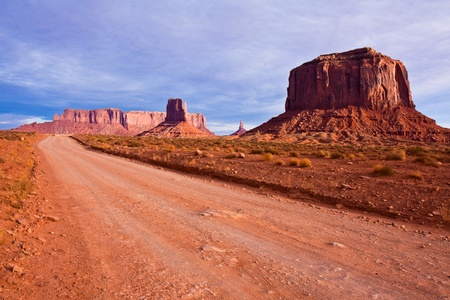 Road between the buttes of Monument Valley Navajo Tribal Park, Arizona  photo