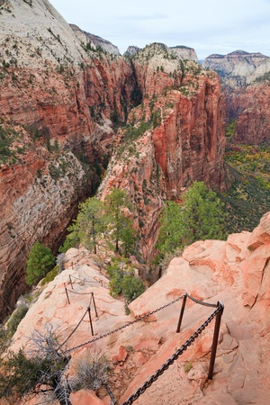 zion: The strenuous Angels Landing trail with a view of Refrigerator and Zion Canyons in Utah.