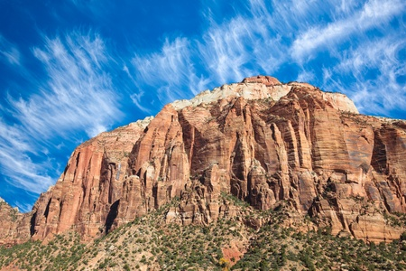 West Temple in daylight at Zion Canyon National Park, Utah. photo