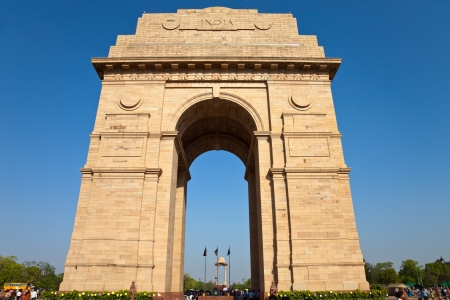 new delhi: India Gate war memorial in New Delhi, India. Stock Photo