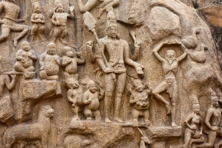 bas: Detail from the Arjunas Penance (or Descent of the Ganges) bas-relief in Mahabalipuram, India. Stock Photo